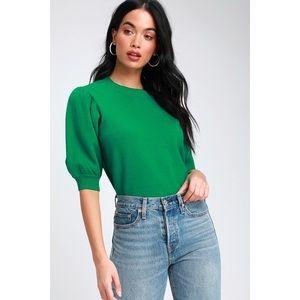 Glenna Green Puff Sleeve Sweater Top